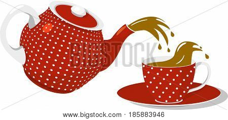 Red spotted teapot and cup with saucer, pouring tea, Isolated on white background, vector illustration