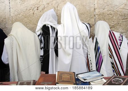 Orthodox Jewish Men Pray At The Western Wall  In Jerusalem Israel