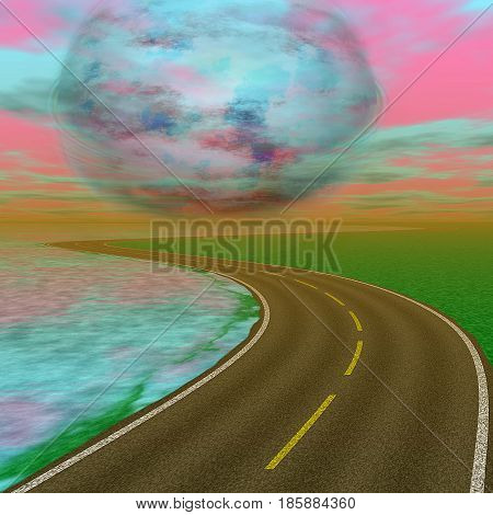 Landscape with road and alien celestial body approaching the Earth. Landscape with highway, dramatic sky and abstract planet. 3d illustration