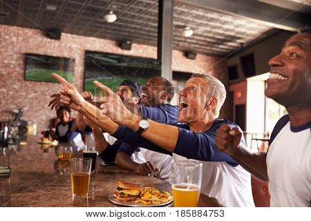 Male Friends In Sports Bar Watch Game And Celebrate