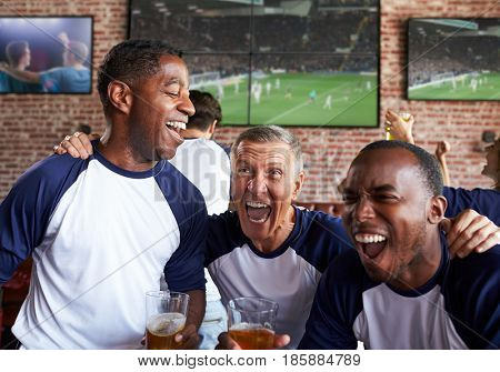 Male Friends Watching Game In Sports Bar Celebrating