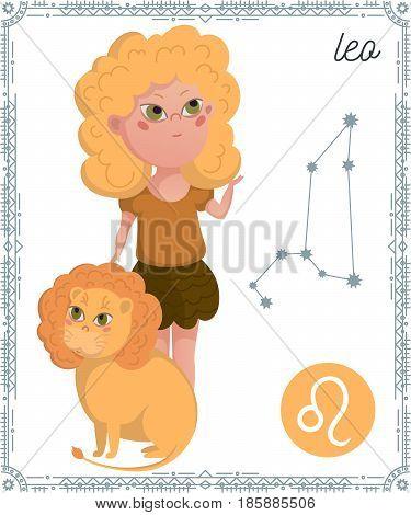 Zodiac sign Leo. Funny cartoon character. Vector illustration