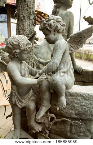 St. Petersburg. Composite sculpture of two angels with wings