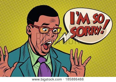 Sorry black man pop art style. I am so sorry. Pop art retro vector illustration