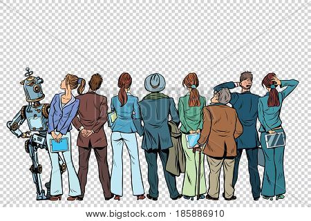 Retro group of businessmen and businesswomen with the robot on isolated background. Pop art vector illustration