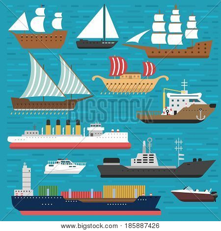Ship cruiser boat sea symbol vessel travel industry vector sailboats cruise. Set of marine icon commercial design element. Export business trade water cargo transportation.