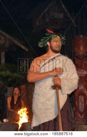Maori Tribal Chief And Maori Woman