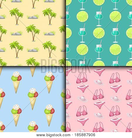 Summer time seamless pattern beach sea shore realistic accessory vector illustration. Sunshine travel hot season decoration holiday vacation beautiful graphic paradise concept.