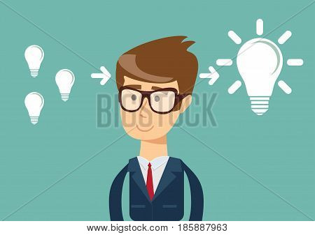 businessman with ideas - stands in front of bulbs elements. cooperate concept.