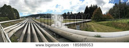 TAUPO NZL - APR 26 2017: Panoramic landscape view of Wairakei geothermal power station near Taupo New Zealand. Built in 1958 and it was the first wet steam power station in the world.