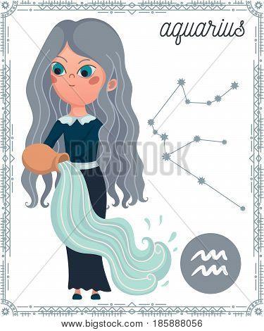 Zodiac sign Aquarius. Funny cartoon character. Vector illustration