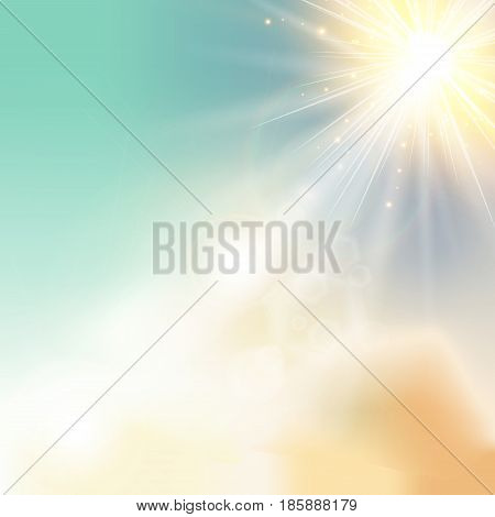The sun shiny sunlight from the sky nature with lens flares vector background
