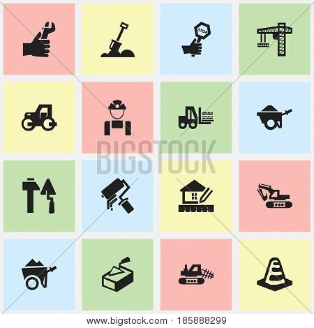 Set Of 16 Editable Building Icons. Includes Symbols Such As Lifting Equipment, Home Scheduling, Oar And More. Can Be Used For Web, Mobile, UI And Infographic Design.