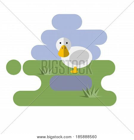 Flat cartoon white duck icon on blue and green background. Vector illustration