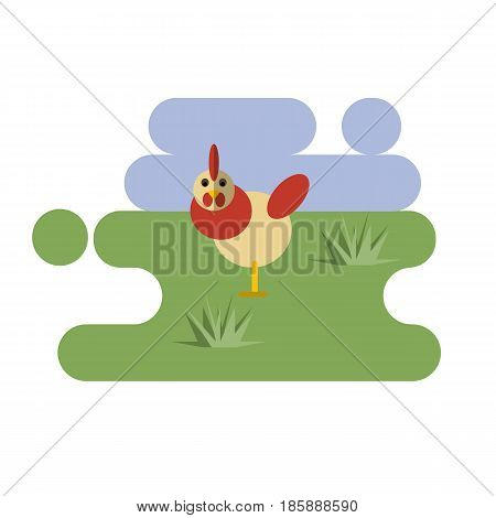 Flat cartoon white chicken icon on blue and green background. Vector illustration
