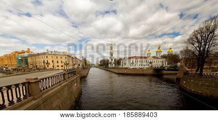 St. Petersburg-10.05.2017: channels of the Neva River with the embankment and buildings along the coast