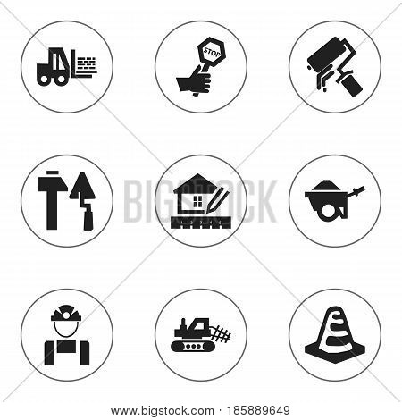 Set Of 9 Editable Construction Icons. Includes Symbols Such As Notice Object, Home Scheduling, Construction Tools And More. Can Be Used For Web, Mobile, UI And Infographic Design.