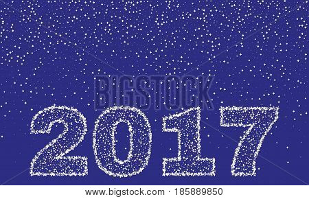 2017 Happy New Year on blue background. Stock - Vector illustration