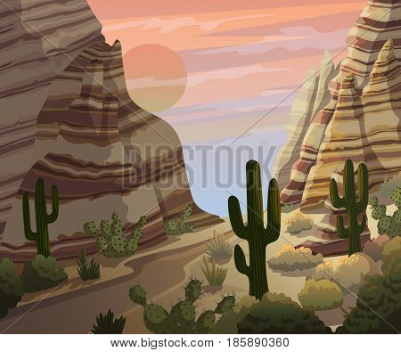 Desert landscape with cactuses and mountains. Sunset or sunrise scenery background. Vector illustration.
