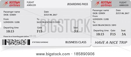 Boarding pass ticket in gray colors in gray colors. Vector template