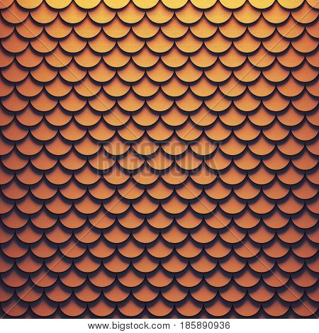 Volumetric geometric background of metal scales. 3D rendering