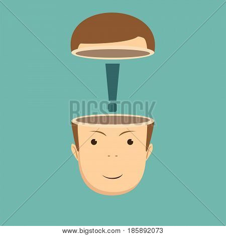 Open minded man with exclamation mark inside.Conceptual image . Stock vector illustration for poster, greeting card, website, ad, business presentation, advertisement design.