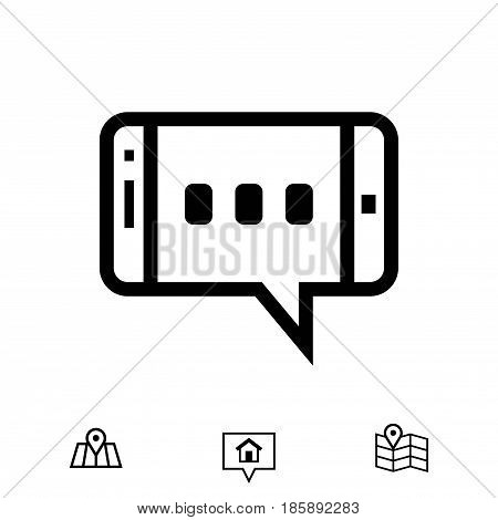 message or chat on smartphone icon stock vector illustration flat design