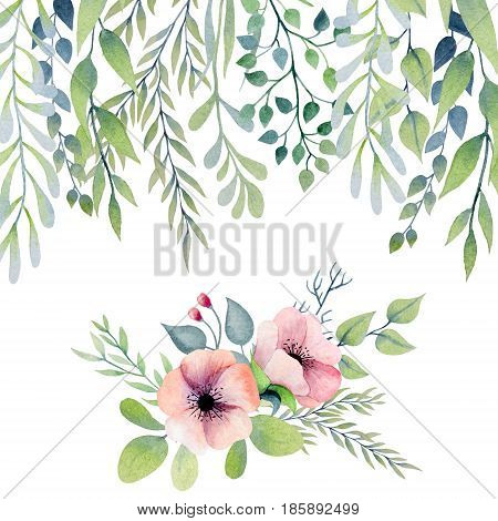 Floral border with green leaves and composition with pink flowers painted in watercolor.Isolated on white background.
