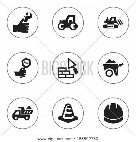 Set Of 9 Editable Structure Icons. Includes Symbols Such As Camion, Hardhat, Endurance And More. Can Be Used For Web, Mobile, UI And Infographic Design.