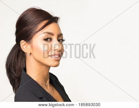 Attractive young woman side profile smile