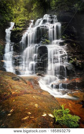 Cascading Sylvia Falls Waterfall In The Blue Mountains