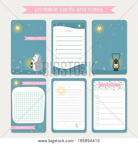 Set of backgrounds for notebook diary organizer and other school template design with hedgehog and lamp and starry sky. Vector illustration.