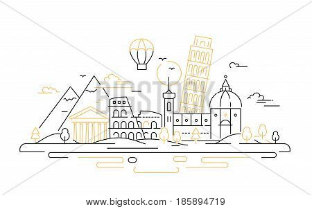 Italy - modern vector line travel illustration. Discover Rome. Have a trip, enjoy your vacation. Be on a journey. See great landmarks like tower of Pisa, coliseum, temple, cathedral, mountain
