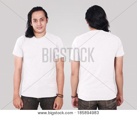 Photo image of an Asian Model smiling and showing blank white T-Shirt front and rear view shirt template