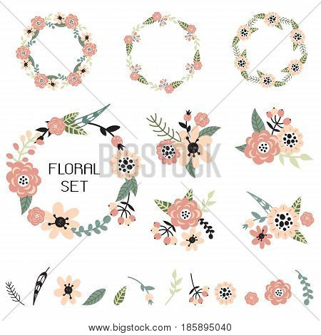 Vector floral set. Colorful floral collection with wreaths floral arrangements and individual floral elements.