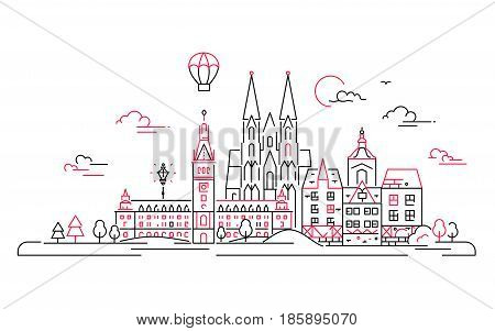 European countries - modern vector line travel illustration. Discover Netherlands and Germany. Have a trip, enjoy your vacation. Be on a safe and exciting journey. See great landmarks like cathedrals, palaces and museums