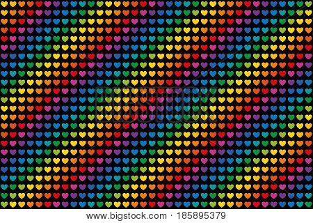 Rainbow colored hearts pattern endless tile. Heart symbols in twelve unique color hues. Can be used as endless background. Isolated illustration on black background. Vector.