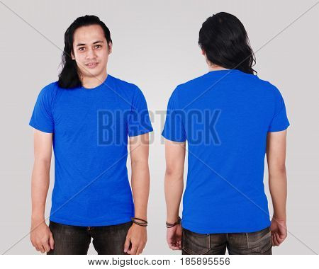 Photo image of an Asian Model smiling and showing blank blue T-Shirt front and rear view shirt template