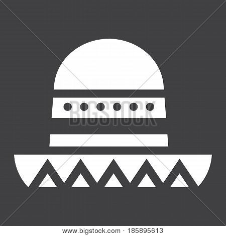 Sombrero Mexican hat solid icon, Travel and tourism, vector graphics, a filled pattern on a black background, eps 10.