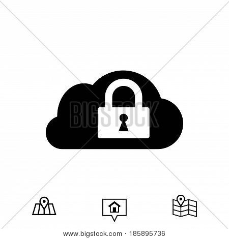 lock cloud icon stock vector illustration flat design