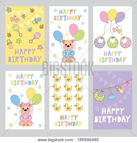 Set of 6 children's Birthday backgrounds with cute bear cub duck toy pacifier and others. Vector illustration.