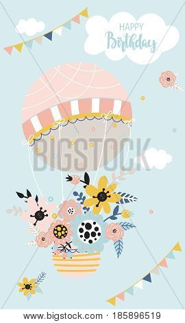 Beautiful birthday background with hot air balloon flowers clouds and flags on a blue background. Vector illustration.