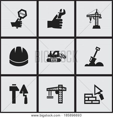 Set Of 9 Editable Building Icons. Includes Symbols Such As Elevator, Mule, Oar And More. Can Be Used For Web, Mobile, UI And Infographic Design.