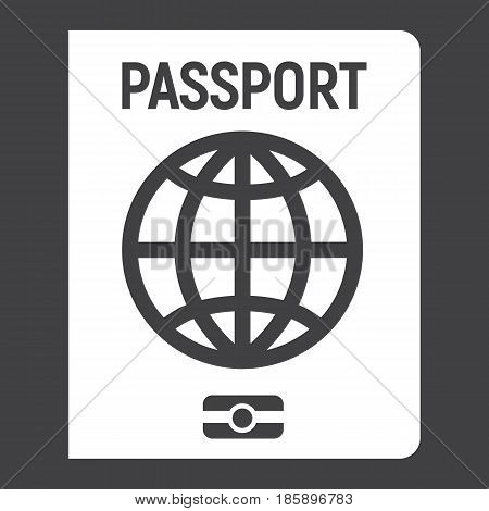 Passport solid icon, travel and citizenship element, vector graphics, a filled pattern on a black background, eps 10.