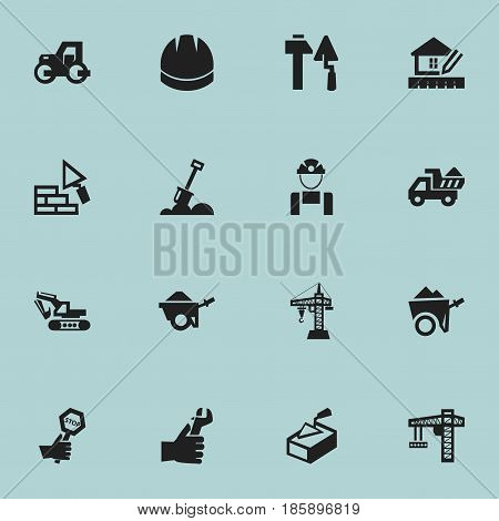 Set Of 16 Editable Building Icons. Includes Symbols Such As Facing, Handcart , Spatula. Can Be Used For Web, Mobile, UI And Infographic Design.