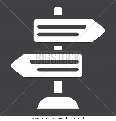Signpost solid icon, navigation and direction, arrows vector graphics, a filled pattern on a black background, eps 10.