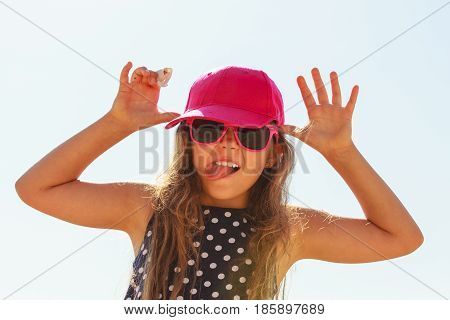 Playful Girl On Playground.