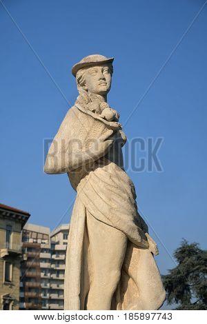 Milan (Lombardy Italy): fountain in Giulio Cesare square near the new Citylife area a statue