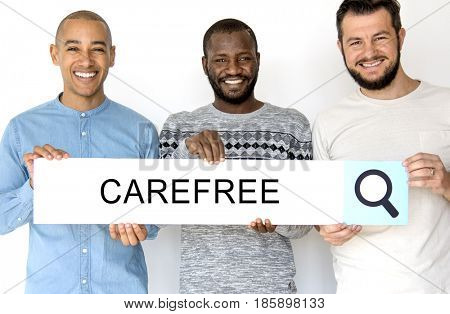 Group of men holding banner network graphic overlay
