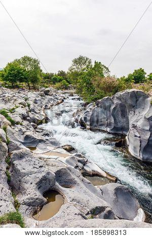 Beautiful wild Alcantara gorge and river in Sicily, Italy